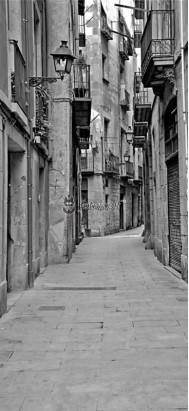 uliczka Barcelona czarno-biała