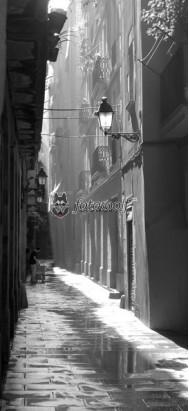 uliczka Barcelona 2 cz-b